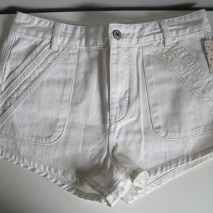 Free People  High Wasted White Jean Shorts